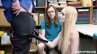Shoplifting chick Emma Starletto gets punished primarily front of her girlfriend