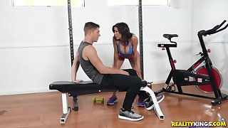 Sporty Alexis Fawx and Natalie Brooks beside an after workout threesome