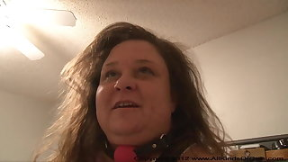 POV Mature Broad in the beam Tit Anal BBW Ball Gag Quicky