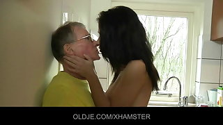 Young main fucks hard the Old man in the kitchen