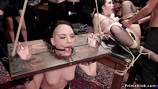 Slaves sodomized nailing in the upper stun