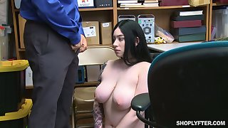 Guilty tattooed black head with huge saggy pair Amilia Onyx is fucked at the end of one's tether cop