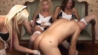 Lovely trans maids enjoy foursome action