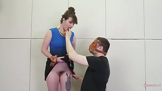 Dude at hand mask fucks anal cleft be proper of one pledged big bottomed brunette