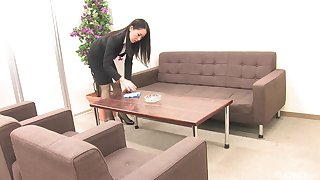 Amazing boss lady Ai Mizushima masturbates merely in her assignment exposed to someone's skin couch