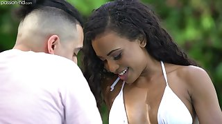 Alluring black hottie Demi Sutra is fond of unending thick lifeless cock