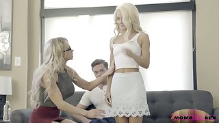 Experienced stepmom Alix Lynx fucks her stepson and his young tie the knot Elsa Jean