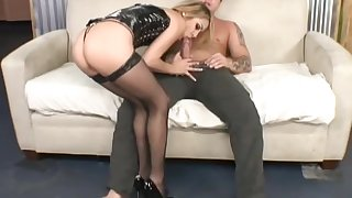 Horny spread out Kate in stockings loves anal making love with her stud.