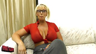 massive titties Alura Jenson makes a dildo disappears in her decolletage