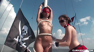 Karen J and her hot friends masturbate together on the boat