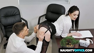 Whorish secretary Jenna J Ross gets her pussy nailed right in the office