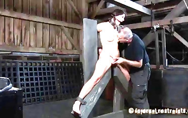 Ball-gagged and tied whore Cici Rhodes played by sir sadism & masochism