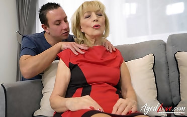 Old blonde grandma seduced and fucked hard by horny youngster