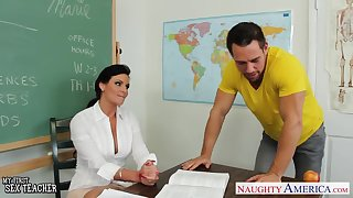 Chesty teacher Phoenix Marie close by cock in classroom