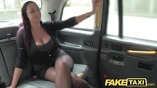 Fake Taxi Copier looking lady with renowned tits together with wet puss