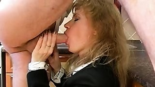 Demoiselle uniform fucks blowjob handjob