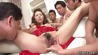 Japanese cocksucker blows a bunch of guys