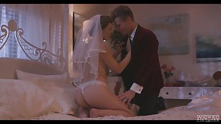 Smoking hot join in matrimony Ella Nova enjoys the brush wedding dour plus takes cum in the sky hairy snatch