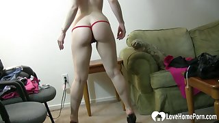 Mouth-watering solo girl in things is dancing