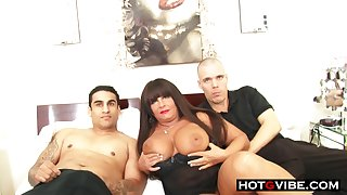 Smoking hot BBW mature milf sucks and fucks 2 young hot guys for a threesome