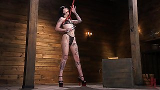 Fucking contraption fucks wet and stretched cunt of further bitch Charlotte Sartre