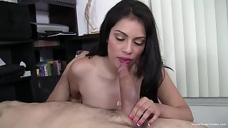 Lifetime for this hot brunette beside gag some proper cock