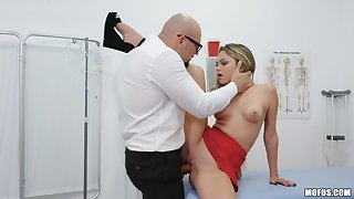 Doctor fucks young patient and cums on her clit