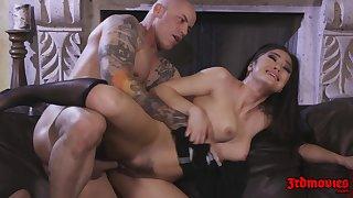 Hot Brunette Damsel Kendra Spade rides big learn of on sofa - cumshot