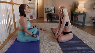 Krissy Lynn and Emma Starletto having sex on the floor after yoga