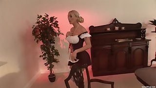 Blonde model Stacey Saran in miniskirt moans during shagging