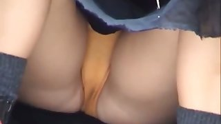 This slut has no problem giving an upskirt view and I love her panties
