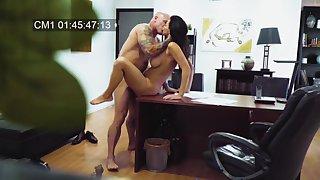 MILF filmed in silent when fucking with her boss