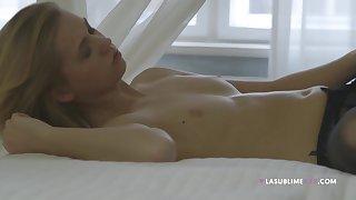 Erotic porn videotape of amateur girlfriend Violette Pink upon stockings