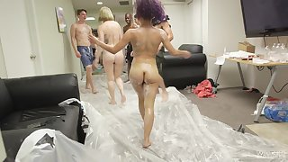Randy guy bangs his gf Liv Revamped while her friends wait for