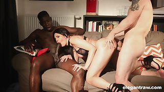 Big racked lass Mariska enjoys wild and hardcore MMF threesome for orgasm