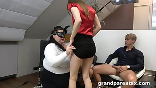 Wilf foursome sex on the floor with na aged and a younger couple
