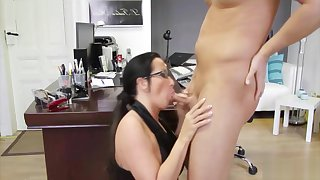 German MILF Tutor with Glasses Fuck Student at School