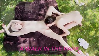 Teen lesbians kiss increased by swept off one's feet pussy outdoors
