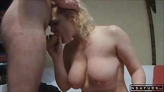 Heavy-Breasted Blond Housewife Gets The brush Tight Rear Drilled