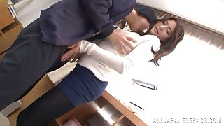 Shafting above the floor with busty Japanese girlfriend Meguri