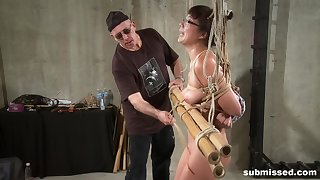 Bush-league nerd girl tied up and throes less a vibrator and toys