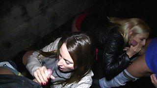 Sisters Monika M. and Simonne Arrogance fuck strangers for Christmas cash