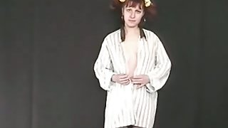 Ugly pigtailed amateurish redhead is ready to rub clit and to piss