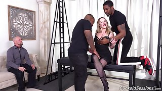 Energized woman is concerning for a wild interracial cuckold
