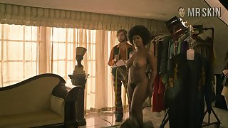 Curvy Toni Duclottni standing fully naked when she disrobes in the first place a markswoman shoot