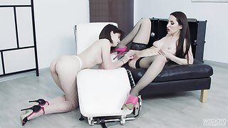 Lesbians use toys to suit their desideratum pussy