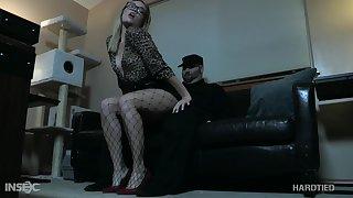 Blonde in glasses Katie Kush gets punished in the dark BDSM room